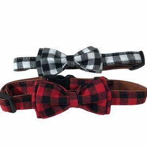 Dog Collar Bow Tie Red Black White Buffalo Check